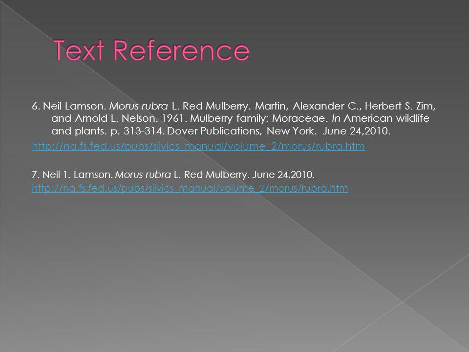 6. Neil Lamson. Morus rubra L. Red Mulberry. Martin, Alexander C., Herbert S.