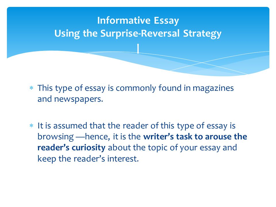 Elements of an Informative Essay - The Hensel Portfolio