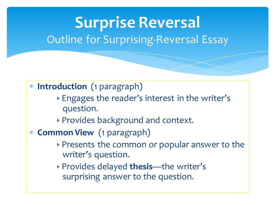  Introduction (1 paragraph) ‣ Engages the reader's interest in the writer's question. ‣ Provides background and context.  Common View (1 paragraph)