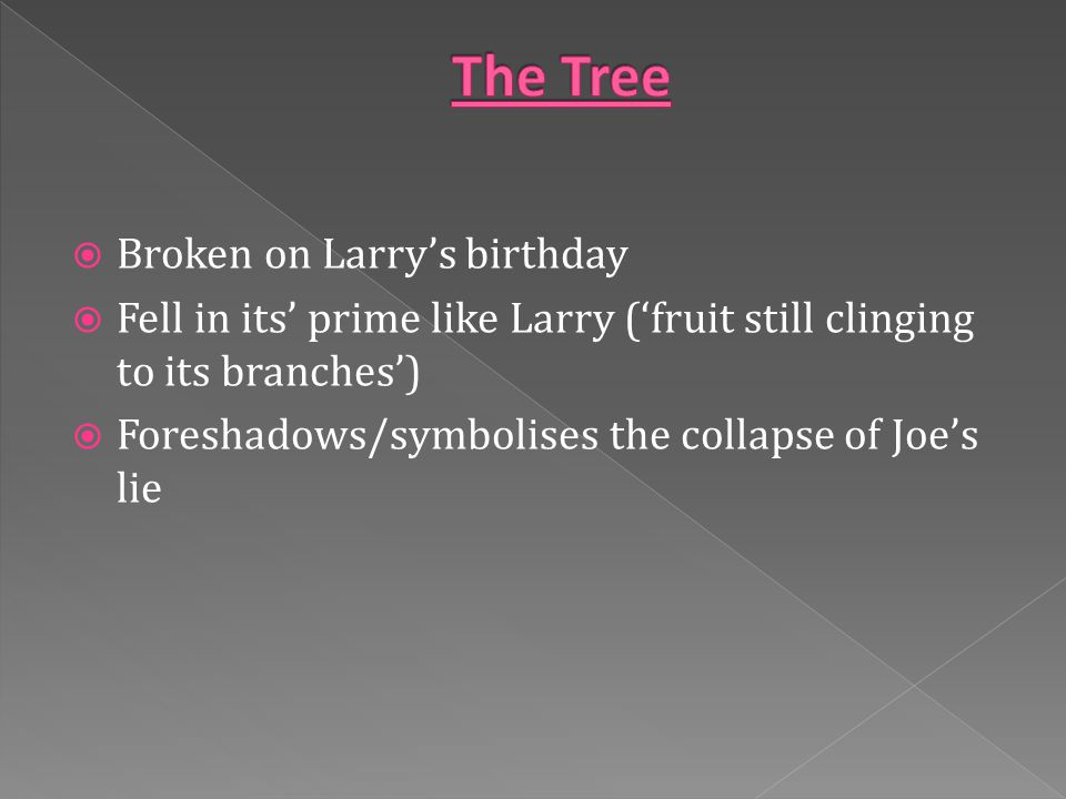  Broken on Larry's birthday  Fell in its' prime like Larry ('fruit still clinging to its branches')  Foreshadows/symbolises the collapse of Joe's lie