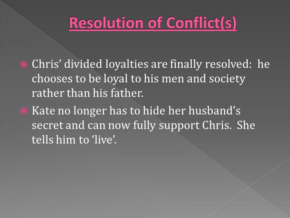  Chris' divided loyalties are finally resolved: he chooses to be loyal to his men and society rather than his father.