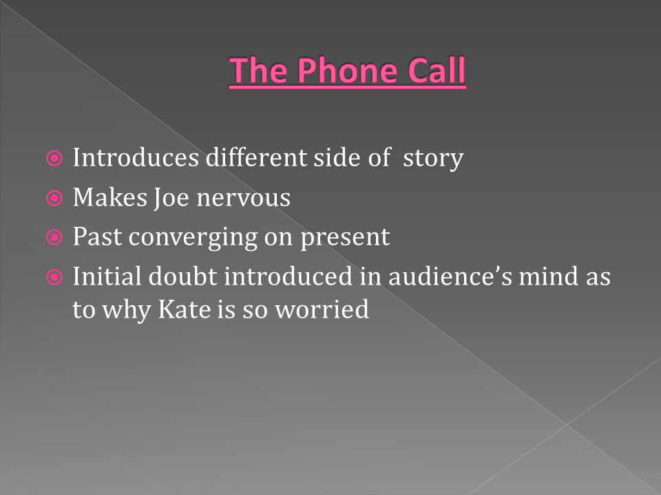  Introduces different side of story  Makes Joe nervous  Past converging on present  Initial doubt introduced in audience's mind as to why Kate is so worried
