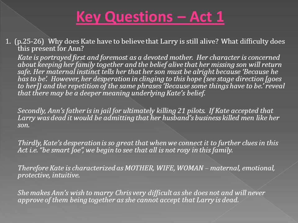 1. (p.25-26) Why does Kate have to believe that Larry is still alive.