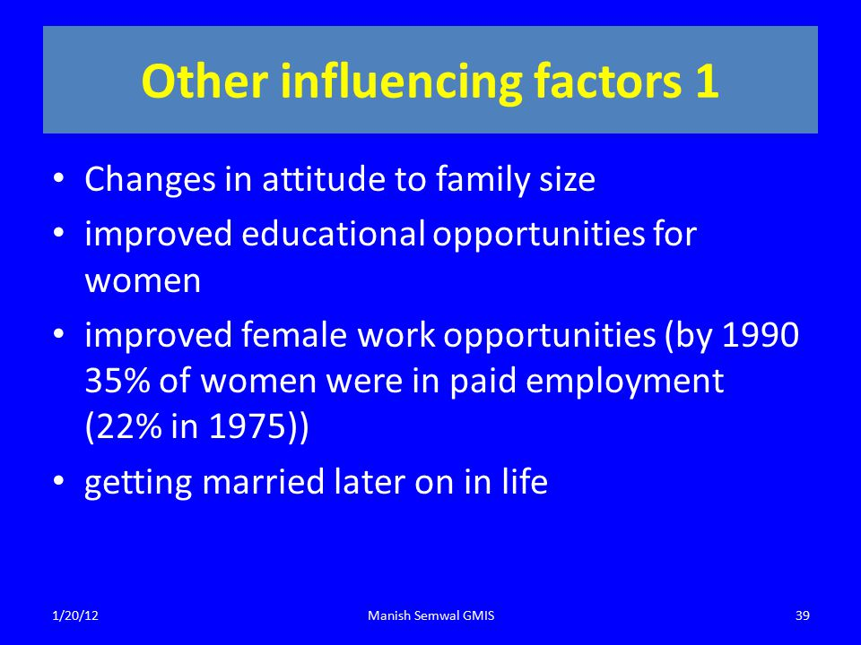 Other influencing factors 1 Changes in attitude to family size improved educational opportunities for women improved female work opportunities (by 1990 35% of women were in paid employment (22% in 1975)) getting married later on in life 1/20/12Manish Semwal GMIS39