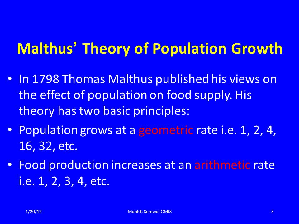 Malthus ' Theory of Population Growth In 1798 Thomas Malthus published his views on the effect of population on food supply.