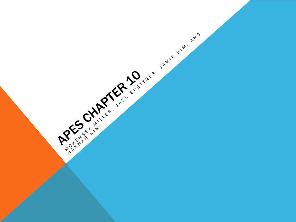 APES CHAPTER 10 MCKENSEY MILLER, JACK BUETTNER, JAMIE KIM, AND HANNAH SIM