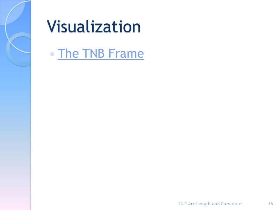 Visualization The TNB Frame 13.3 Arc Length and Curvature16