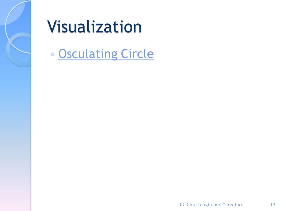 Visualization Osculating Circle 13.3 Arc Length and Curvature19