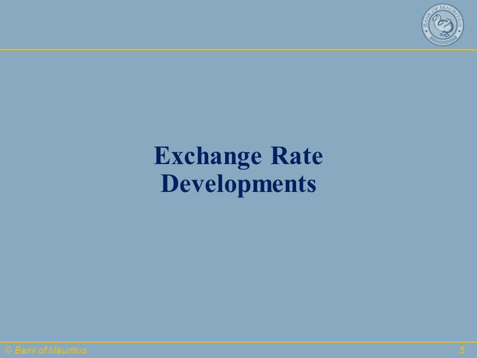© Bank of Mauritius Exchange Rate Developments 5