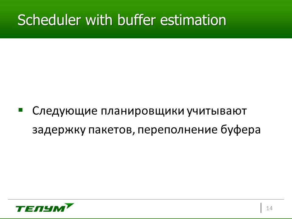 Scheduler with buffer estimation  Следующие планировщики учитывают задержку пакетов, переполнение буфера 14
