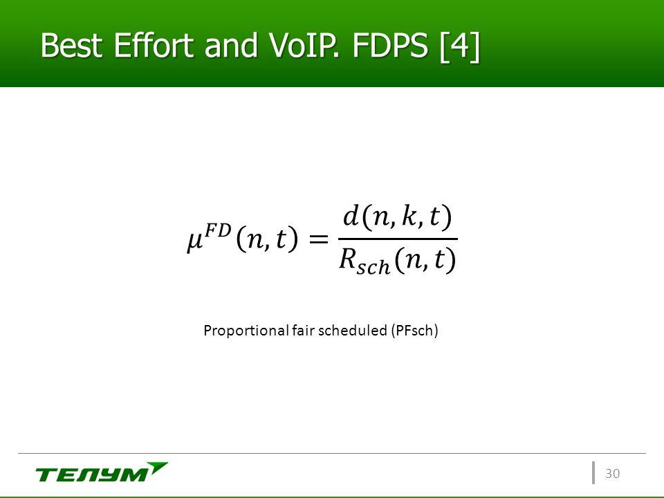 Best Effort and VoIP. FDPS [4] 30 Proportional fair scheduled (PFsch)