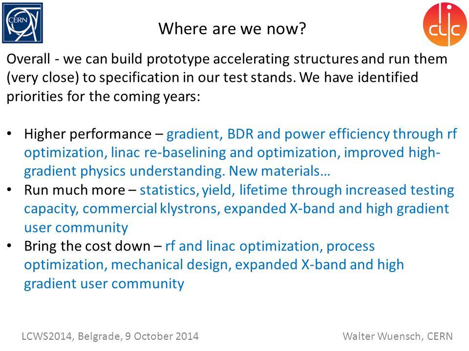 Walter Wuensch, CERN LCWS2014, Belgrade, 9 October 2014 Where are we now.