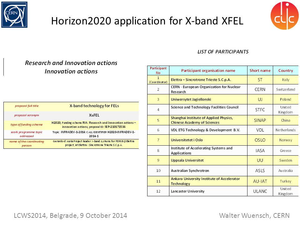 Walter Wuensch, CERN LCWS2014, Belgrade, 9 October 2014 Horizon2020 application for X-band XFEL
