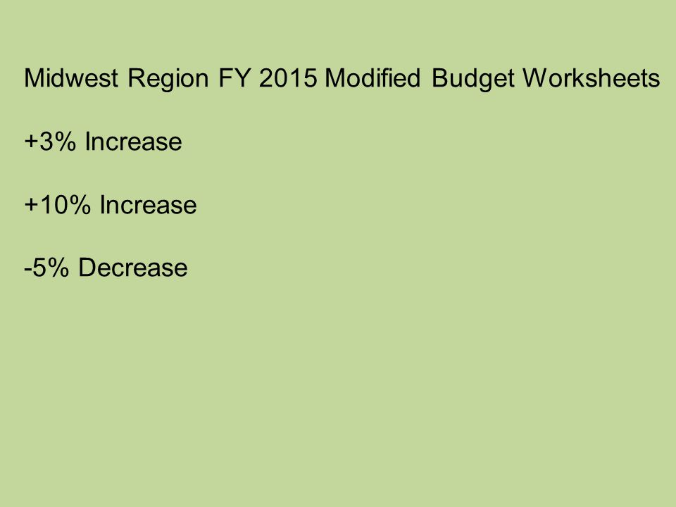 Midwest Region FY 2015 Modified Budget Worksheets +3% Increase +10% Increase -5% Decrease