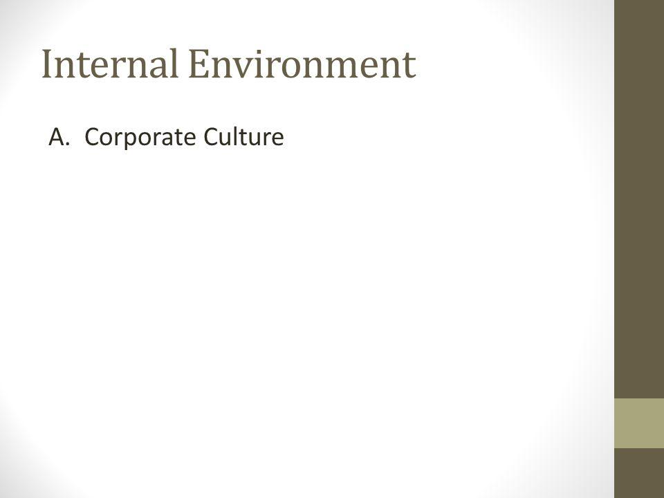 Internal Environment A. Corporate Culture