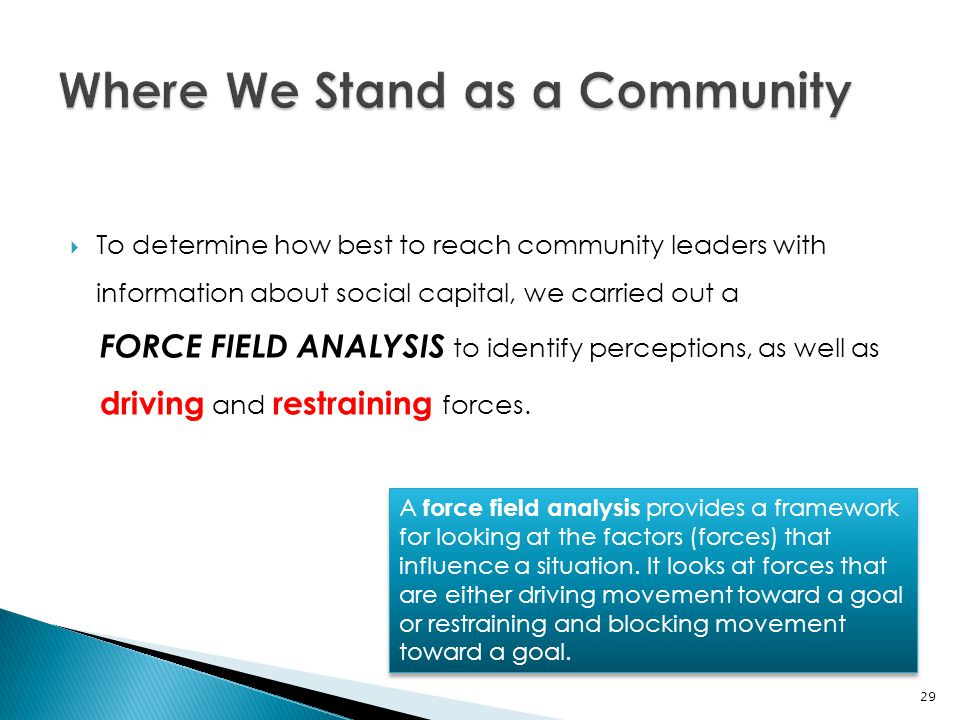 To determine how best to reach community leaders with information about social capital, we carried out a FORCE FIELD ANALYSIS to identify perception