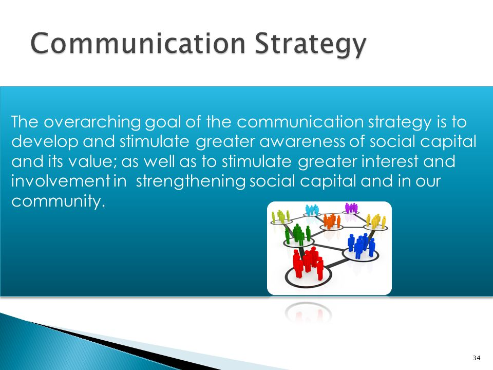 The overarching goal of the communication strategy is to develop and stimulate greater awareness of social capital and its value; as well as to stimul