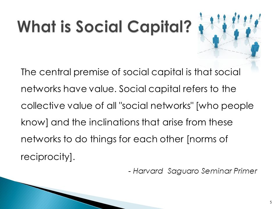 The central premise of social capital is that social networks have value. Social capital refers to the collective value of all