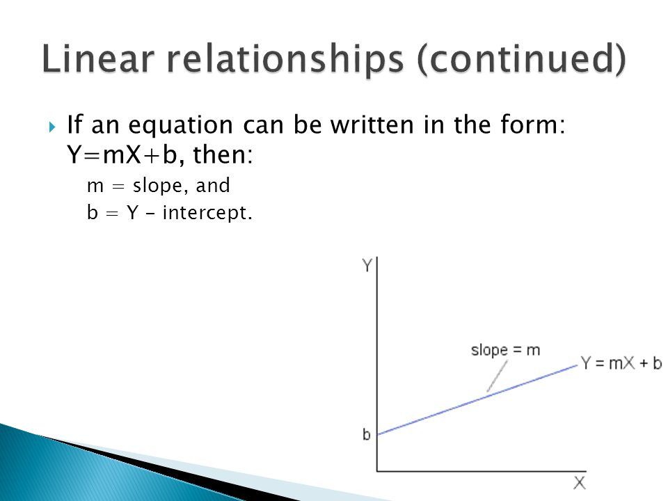  If an equation can be written in the form: Y=mX+b, then: m = slope, and b = Y - intercept.