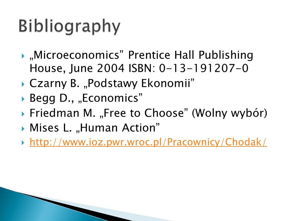 " ""Microeconomics"" Prentice Hall Publishing House, June 2004 ISBN: 0-13-191207-0  Czarny B. ""Podstawy Ekonomii""  Begg D., ""Economics""  Friedman M."