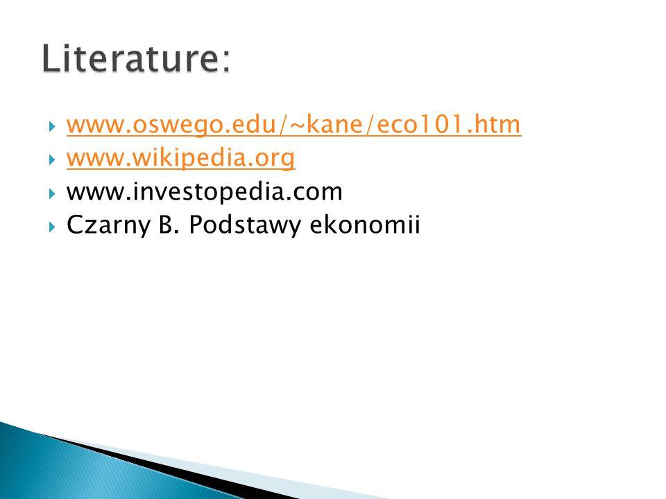 www.oswego.edu/~kane/eco101.htm www.oswego.edu/~kane/eco101.htm  www.wikipedia.org www.wikipedia.org  www.investopedia.com  Czarny B. Podstawy ek