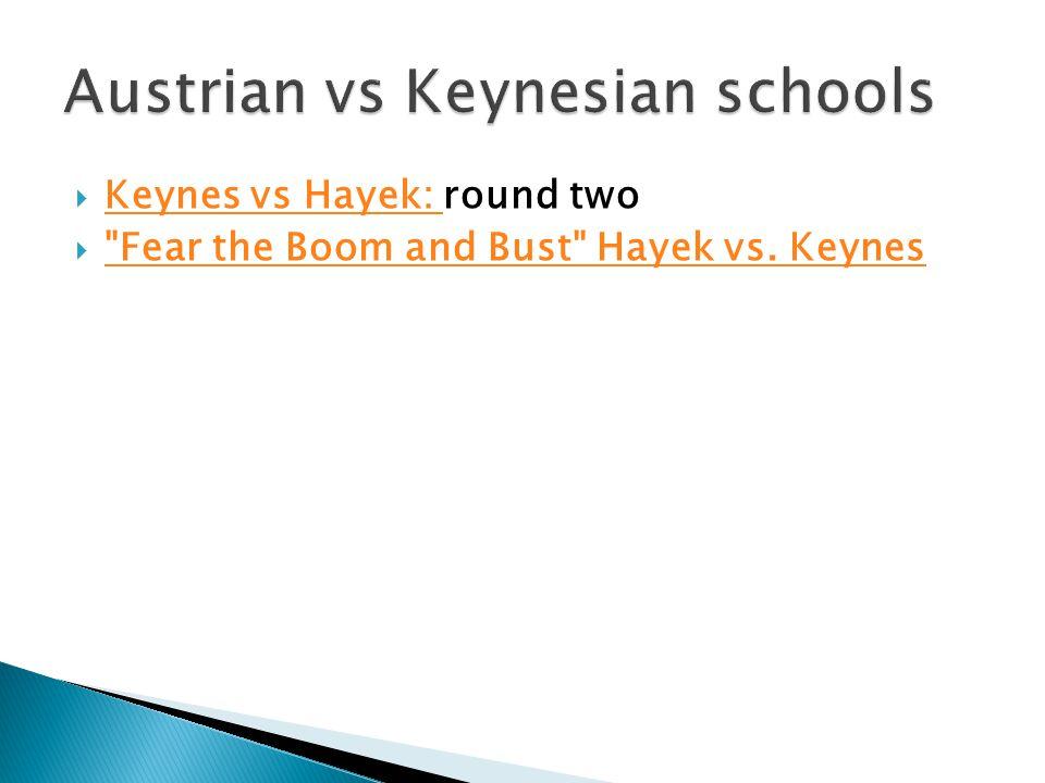  Keynes vs Hayek: round two Keynes vs Hayek:  Fear the Boom and Bust Hayek vs.
