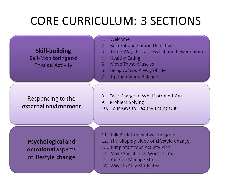 CORE CURRICULUM: 3 SECTIONS 1.Welcome 2.Be a Fat and Calorie Detective 3.Three Ways to Eat Less Fat and Fewer Calories 4.Healthy Eating 5.Move Those Muscles 6.Being Active: A Way of Life 7.Tip the Calorie Balance 8.