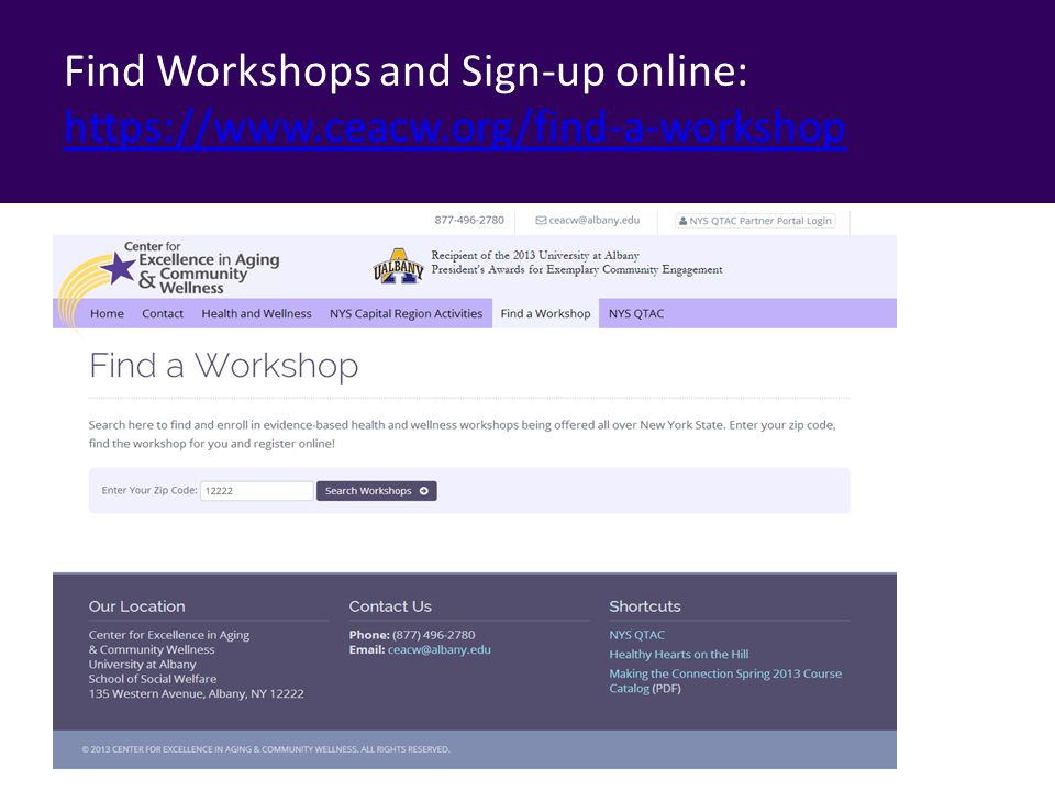 Find Workshops and Sign-up online: