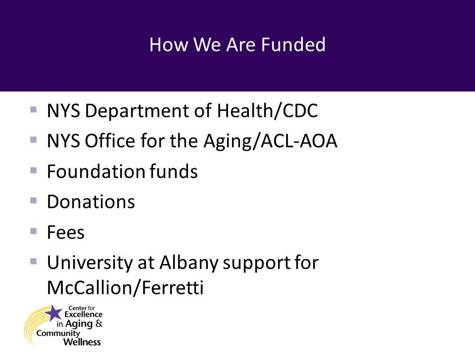 How We Are Funded  NYS Department of Health/CDC  NYS Office for the Aging/ACL-AOA  Foundation funds  Donations  Fees  University at Albany support for McCallion/Ferretti