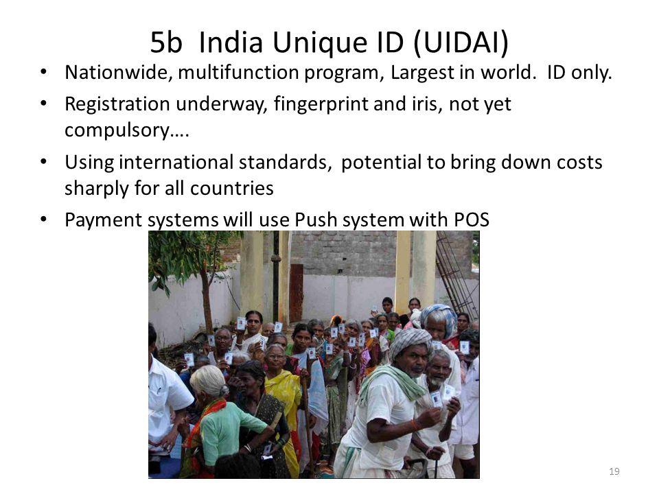 5b India Unique ID (UIDAI) Nationwide, multifunction program, Largest in world.