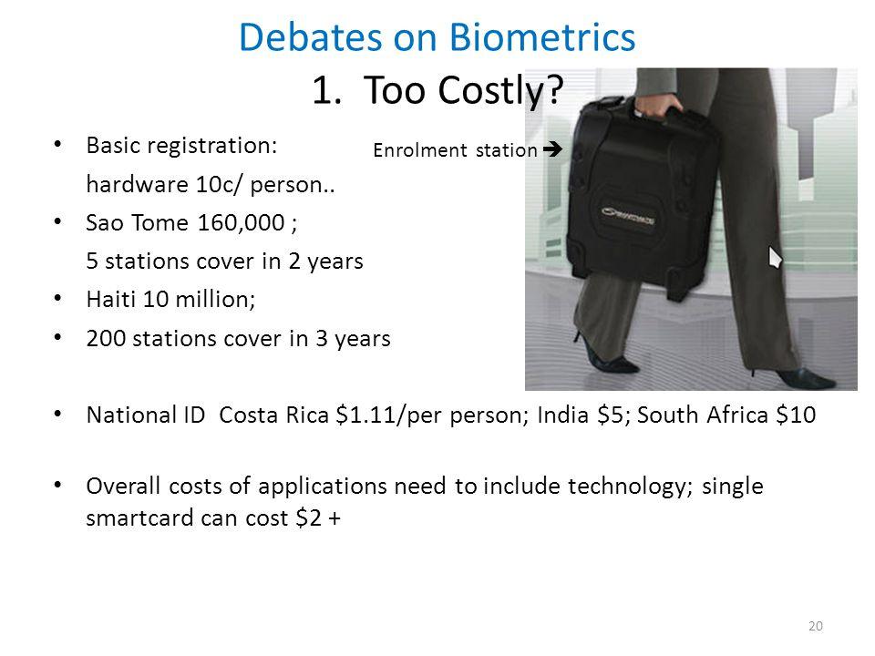 Debates on Biometrics 1. Too Costly. Basic registration: hardware 10c/ person..
