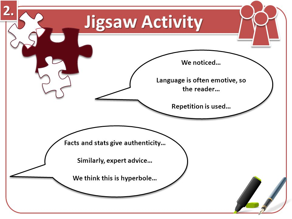 2.2. Jigsaw Activity We noticed… Language is often emotive, so the reader… Repetition is used… Facts and stats give authenticity… Similarly, expert ad
