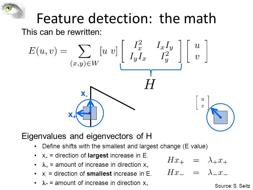 Feature detection: the math This can be rewritten: Eigenvalues and eigenvectors of H Define shifts with the smallest and largest change (E value) x +