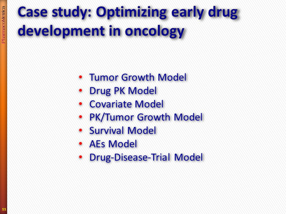 11 Tumor Growth Model Tumor Growth Model Drug PK Model Drug PK Model Covariate Model Covariate Model PK/Tumor Growth Model PK/Tumor Growth Model Survival Model Survival Model AEs Model AEs Model Drug-Disease-Trial Model Drug-Disease-Trial Model