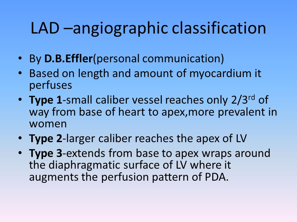 LAD –angiographic classification By D.B.Effler(personal communication) Based on length and amount of myocardium it perfuses Type 1-small caliber vesse
