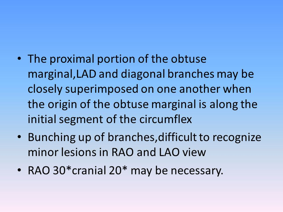 The proximal portion of the obtuse marginal,LAD and diagonal branches may be closely superimposed on one another when the origin of the obtuse margina