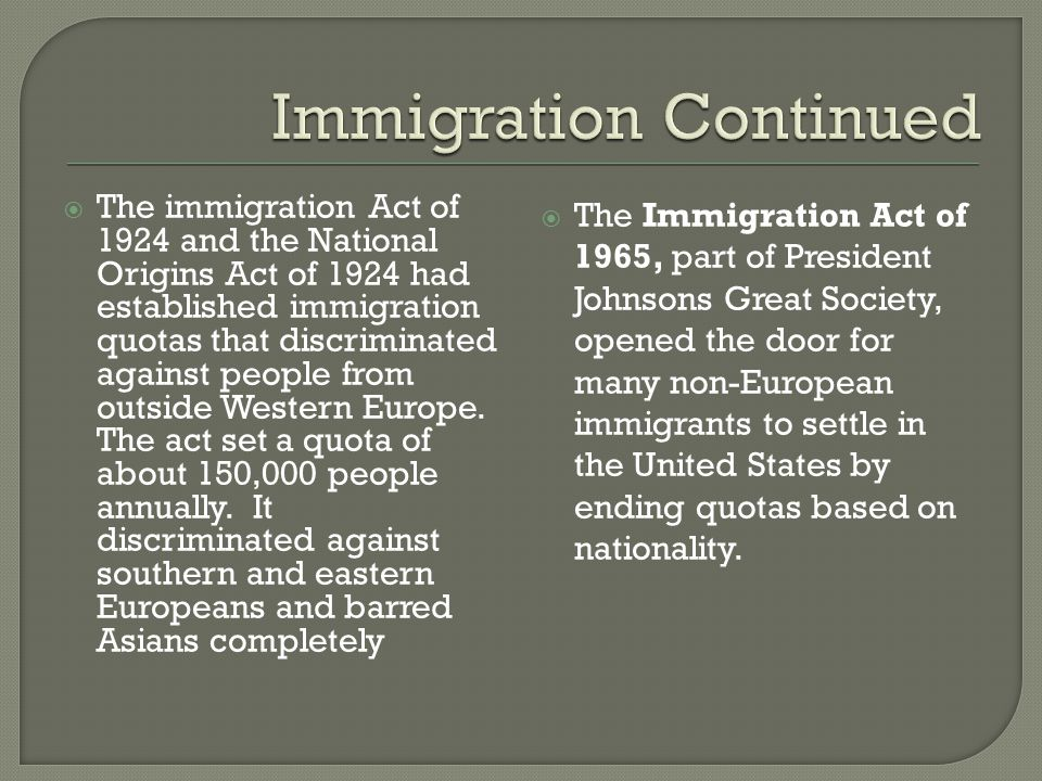  The immigration Act of 1924 and the National Origins Act of 1924 had established immigration quotas that discriminated against people from outside W