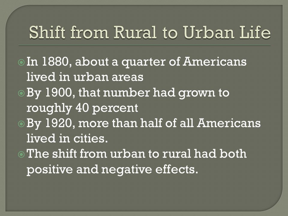  In 1880, about a quarter of Americans lived in urban areas  By 1900, that number had grown to roughly 40 percent  By 1920, more than half of all A
