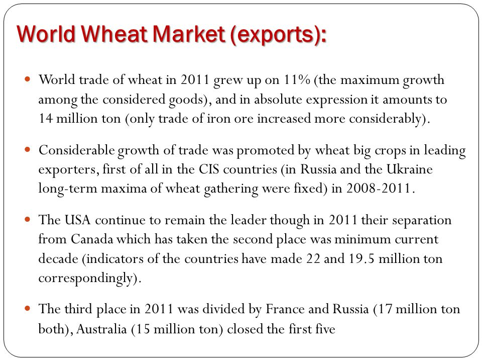 World Wheat Market (exports): World trade of wheat in 2011 grew up on 11% (the maximum growth among the considered goods), and in absolute expression