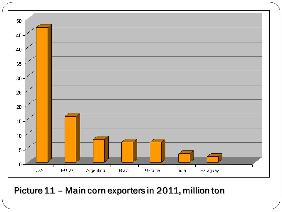 Picture 11 – Main corn exporters in 2011, million ton