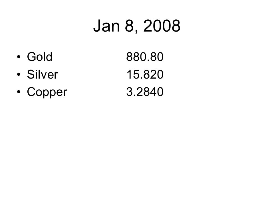 Jan 8, 2008 Gold880.80 Silver15.820 Copper3.2840