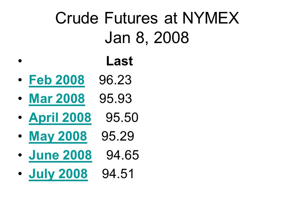 Crude Futures at NYMEX Jan 8, 2008 Last Feb 2008 96.23Feb 2008 Mar 2008 95.93Mar 2008 April 2008 95.50April 2008 May 2008 95.29May 2008 June 2008 94.65June 2008 July 2008 94.51July 2008