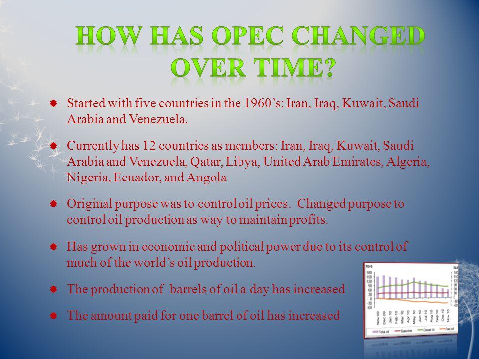  Started with five countries in the 1960's: Iran, Iraq, Kuwait, Saudi Arabia and Venezuela.