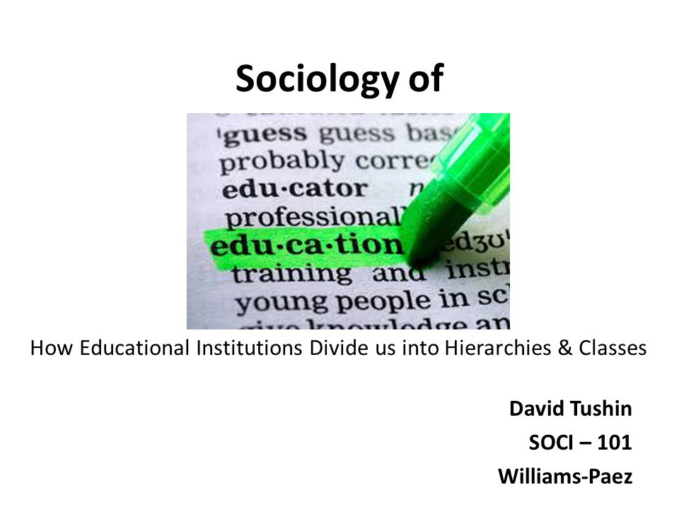 Sociology of David Tushin SOCI – 101 Williams-Paez How Educational Institutions Divide us into Hierarchies & Classes
