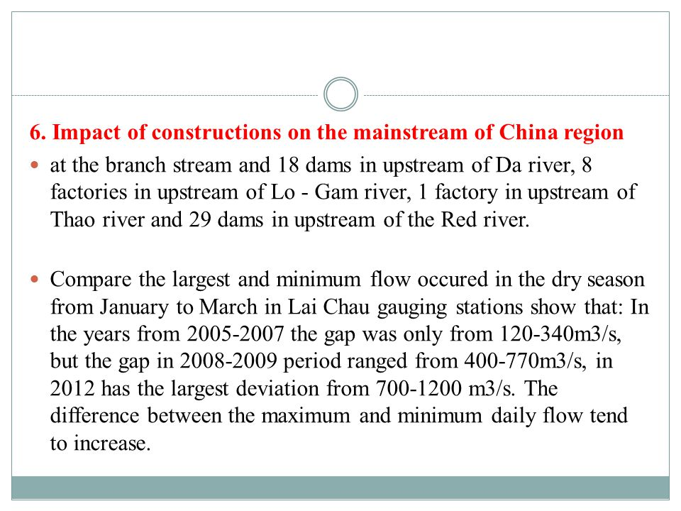 6. Impact of constructions on the mainstream of China region at the branch stream and 18 dams in upstream of Da river, 8 factories in upstream of Lo -