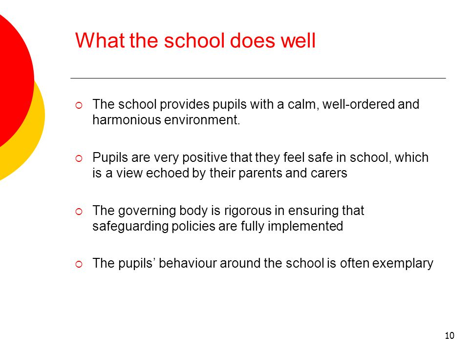 10 What the school does well  The school provides pupils with a calm, well-ordered and harmonious environment.