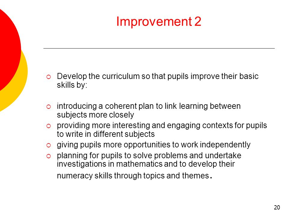 20 Improvement 2  Develop the curriculum so that pupils improve their basic skills by:  introducing a coherent plan to link learning between subjects more closely  providing more interesting and engaging contexts for pupils to write in different subjects  giving pupils more opportunities to work independently  planning for pupils to solve problems and undertake investigations in mathematics and to develop their numeracy skills through topics and themes.