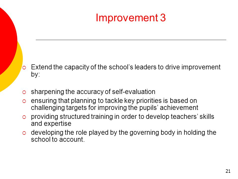 21 Improvement 3  Extend the capacity of the school's leaders to drive improvement by:  sharpening the accuracy of self-evaluation  ensuring that planning to tackle key priorities is based on challenging targets for improving the pupils' achievement  providing structured training in order to develop teachers' skills and expertise  developing the role played by the governing body in holding the school to account.