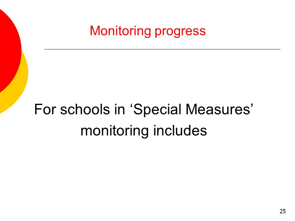 25 Monitoring progress For schools in 'Special Measures' monitoring includes