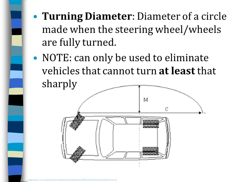 Turning Diameter: Diameter of a circle made when the steering wheel/wheels are fully turned. NOTE: can only be used to eliminate vehicles that cannot